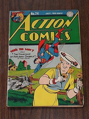 Action Comics #74 Vg+ (4.5) Dc Comics Superman July 1944