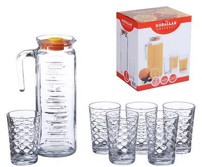 LAV 1.2Lt Glass Jug & 6 200ml Water Juice Tumbler Highball Glass Gift Set