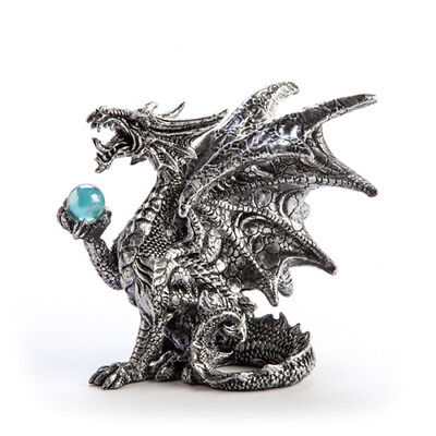 Dragon with Crystal Ball Figurine Hand Painted Mystical Figures Display Décor