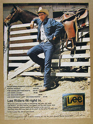 1972 Lee Riders Jeans Jacket Shirt cowboy horse photo vintage print Ad