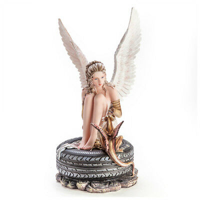 Angel Sitting on Tyre feeding a Baby Dragon Desk Office Table Gift Idea Figure