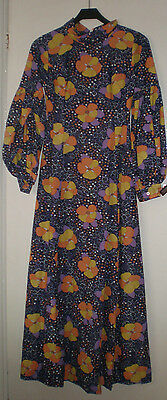 """Ladies vintage 1970's long lined nylon dress bright floral  Bust size 32"""""""