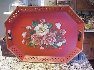 """Vintage Nashco Metal Toleware Serving Tray - Hand Painted Floral - 15"""" X 20"""""""