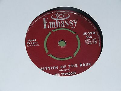 "Embassy Label - The Typhoons - Rhythm Of The Rain / Charmaine - 1963 7"" Single"