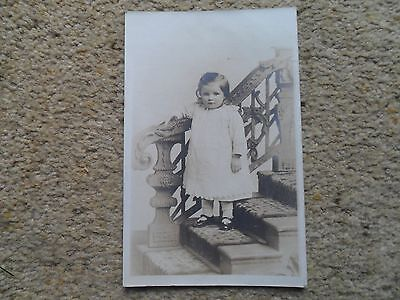 Real Photo.postcard Beautiful Young Girl On Stairs.harrison's Studio Leeds.