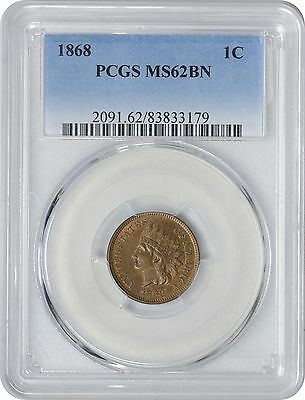 1868 Indian Cent MS62BN PCGS