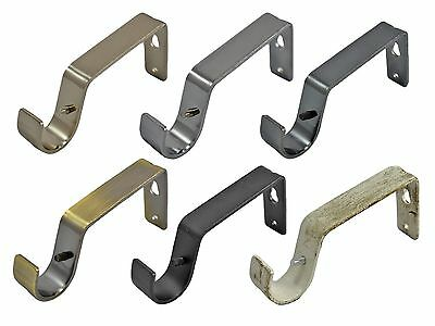 19mm & 28mm Heavy Duty Metal Curtain Pole Rod Wall Bracket Holder 6 Colours