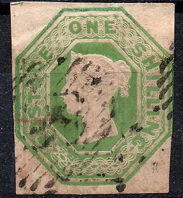 (318) Very Good Lightly Used 3 Margin Qv 1/- Pale Green Sg54