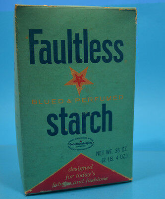 Vintage Box of FAULTLESS instant Starch  Laundry Room Decor 2lb+