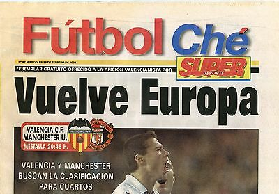 Valencia CF v Manchester United Champions League 2001 PROGRAMME - POSTFREE to UK