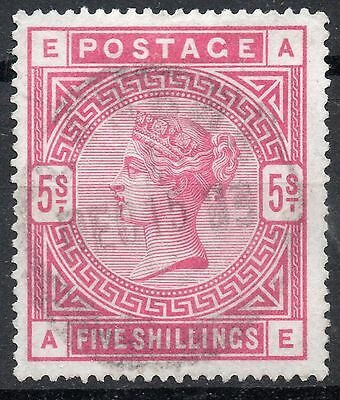 (323) Very Good Lightly Used 1884 Sg181 Qv 5/- Crimson Pmk Dec 15 1893