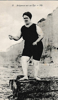 Bather on a breakwater, Baigneuse sur un epi - old French post card