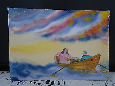 Watercolor Painting by John Neville Halls Harbour NS Man Nude Woman In Dory Boat