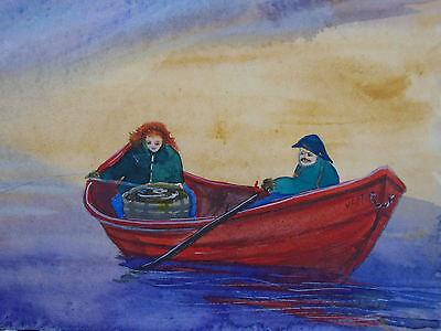 Folk Art Watercolor Painting by John Neville Halls Harbour NS Man Woman Fishing
