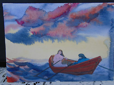Watercolor Painting Joyce Martin Neville Halls Harbour NS Man Nude Dory Boat #2