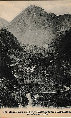 Road and railway from Pierrefitte to Cauterets - old post card
