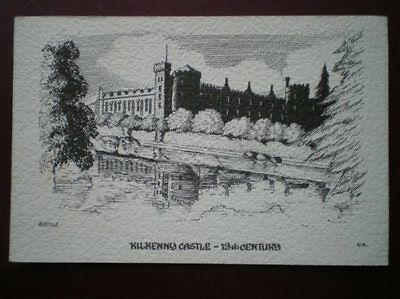Postcard Kilkenny Kilkenny Castle Pencil Sketch