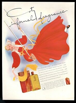 1941 Coty L'Aimant perfume bottle box woman on swing art vintage print ad