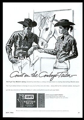 1964 Levi's Western wear men's women's shirt illustrated vintage print ad