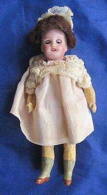 """French Mignonette Bisque Head Paris Sleep Eyes Painted Stockings Wig Dress 5"""""""