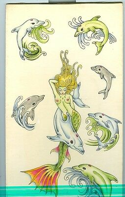 Original Vintage John Wesley Harden Tattoo Flash Art, Dolphins
