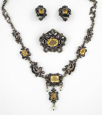 * 1920s SILVER 800 EDWARDIAN CITRINES PARURE by J.R: NECKLACE, BROOCH, EARRINGS