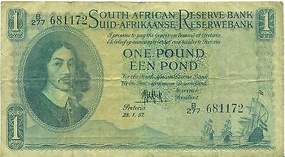 SOUTH AFRICA NOTE 1 POUND 28.1.1957 SERIAL B277 P 92d FINE++