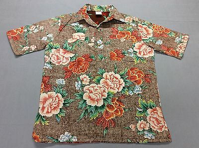 Vintage 60S 70S Jantzen Hawaiian Bark Cloth Flowered Shirt Mens Medium Usa Made!