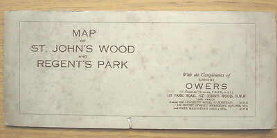 Map Of St. John's Wood and Regent's Park, London c.1930s? inc. local adverts