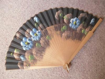 Painted Wood and Cloth Fan