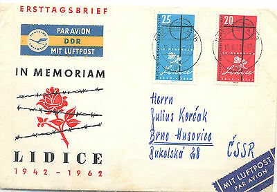 DDR 1962 first day airmail cover commemorating Lidice
