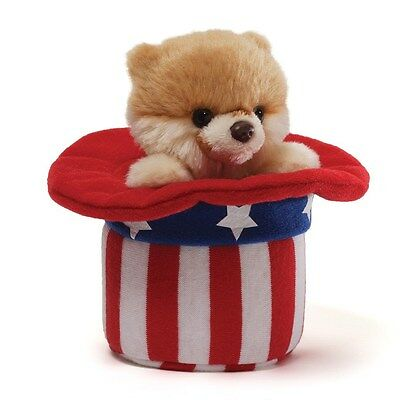 Gund  Dog -  Patriotic  Pomeranian  -  Red White And Boo - 4Th July