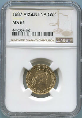 1887 Argentina Gold 5 Peso. NGC MS61