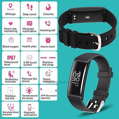 Waterproof Smart Watch Heart Rate/Blood Pressure Monitor Sport Activity Tracker