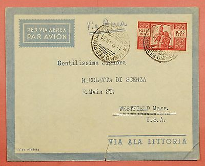 1940s ITALY 100L FRANKED AIRMAIL COVER TO USA