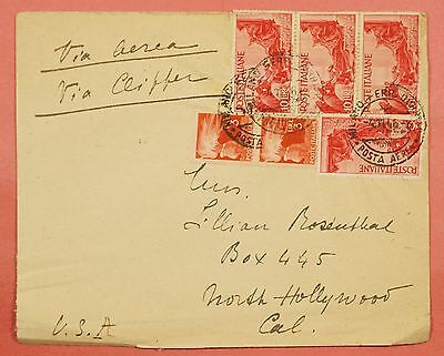 1946 Italy Multi Franked Clipper Airmail Cover Milan To Usa