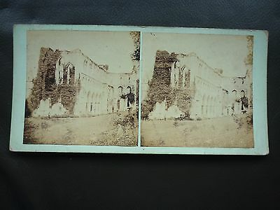 Stereoview Nice Early Image Abbey Ruins Church Ruins Location Unknown