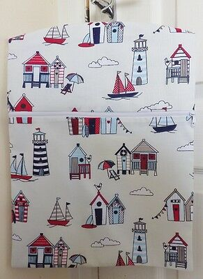 "Hand Made Peg/Hanging Storage Bag Lined & Zipped 12.5"" x 16"" Red/Blue Beach Huts"