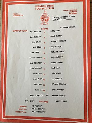 SWINDON Res V TOTTENHAM HOTSPUR Res 1989/0.