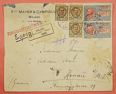 Italy #e6 Special Delivery On 1922 Registered Cover Milan To Hanau Germany