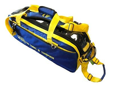 Vise 3 Ball Tote Bowling Bag with tow wheels Color Blue & Yellow