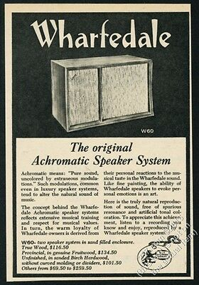 1962 Wharfedale W60 Achromatic stereo speaker photo vintage print ad