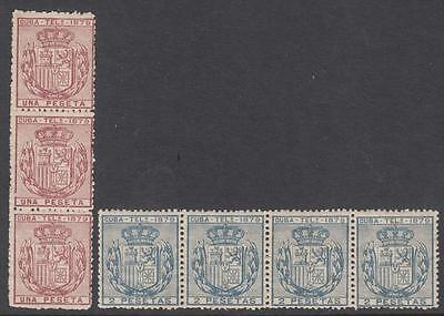 Spain Caribbean Colony Telegraph Stamps Barefoot #52-53 MNH strips 1879 cv $91