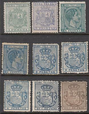 Spain Caribbean Colony Telegraph Stamps collection 9 unused stamps Bft cv $83