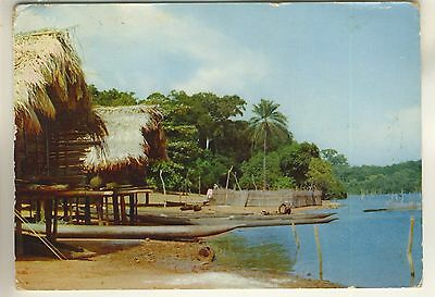 A Postcard of Togoland. Native water habitation. West Africa