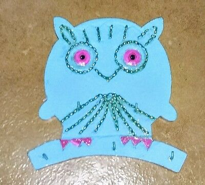 "Brightly Painted Wooden Owl Jewelry Holder 7"" x 7"" Hand Carved in India Turquois"