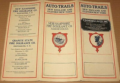Vintage 1933 So.New England/Quebec/NY Auto-Trails Map/Brochure - NH Insurance