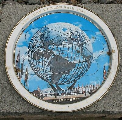 1964-65 New York World's Fair Unisphere - Vintage Metal Wall Plate - US Steel