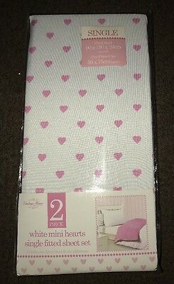Brand New Girls Heart Patterned Single Fitted Sheet & Pillowcase Set