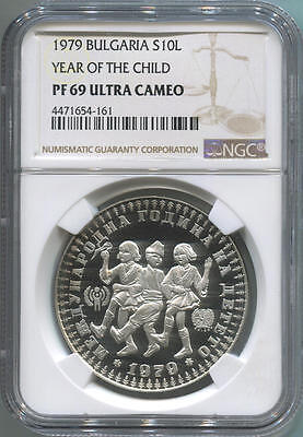 1979 Bulgaria Silver 10 Leva. Top Pop! Year of the Child. NGC PF69 Ultra Cameo